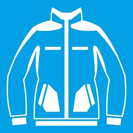 Men winter jacket icon white isolated on blue background vector illustration Illustration