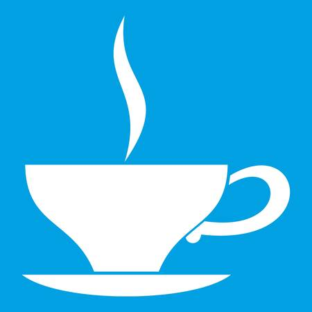 english culture: Cup of tea icon white isolated on blue background vector illustration Illustration