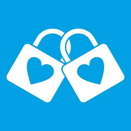 Two locked padlocks with hearts icon white isolated on blue background vector illustration
