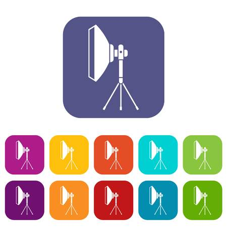 Studio lighting equipment icons set vector illustration in flat style in colors red, blue, green, and other