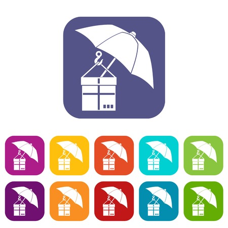 gift accident: Umbrella and a cardboard box icons set