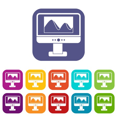 photo album: Computer monitor with photo on screen icons set Illustration