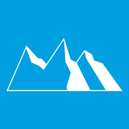 Mountains icon white isolated on blue background vector illustration
