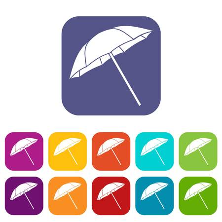 Umbrella icons set vector illustration in flat style in colors red, blue, green, and other