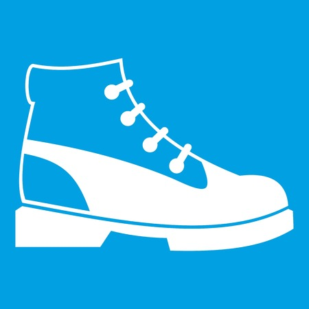 loafer: Men boot icon white isolated on blue background vector illustration