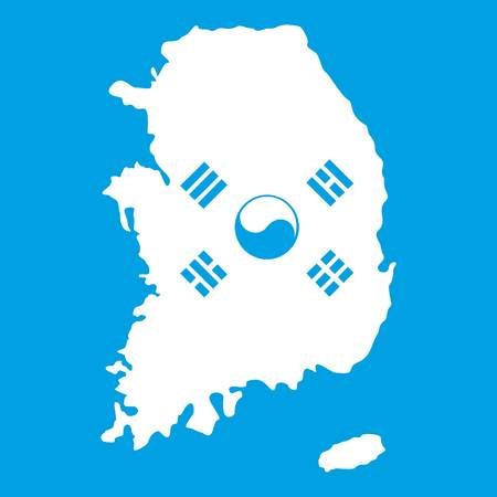South Korea map with national flag icon white isolated on blue background vector illustration Illustration