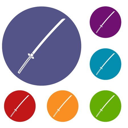 Japanese katana icons set in flat circle red, blue and green color for web Illustration