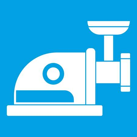 meat grinder: Electric grinder icon white isolated on blue background vector illustration Illustration