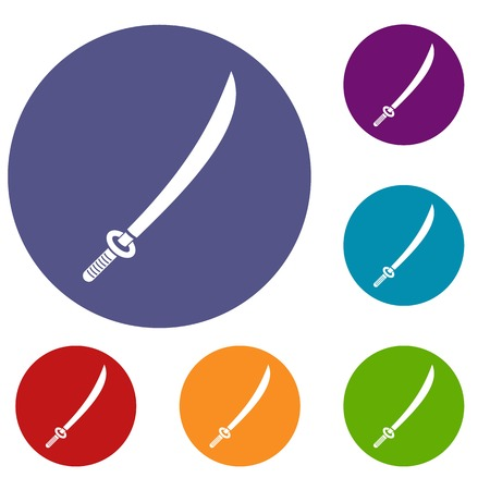 Katana icons set in flat circle red, blue and green color for web Illustration