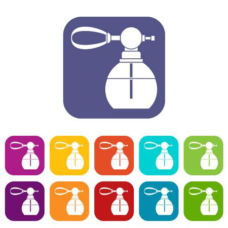 Perfume bottle with vaporizer icons set vector illustration in flat style in colors red, blue, green, and other