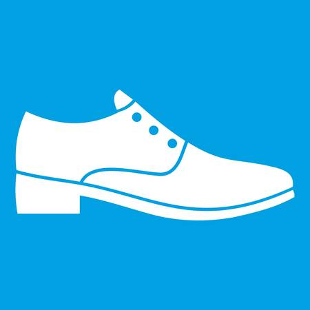 Men shoe icon white isolated on blue background vector illustration Illustration
