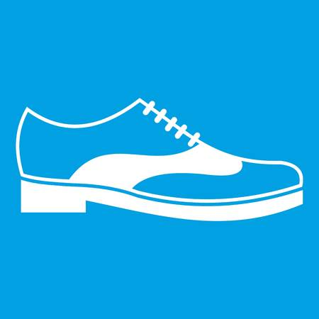 Men shoe with lace icon white Illustration