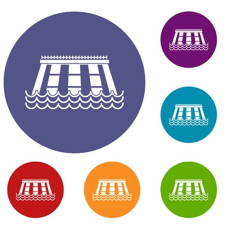Hydroelectric power station icons set Illustration