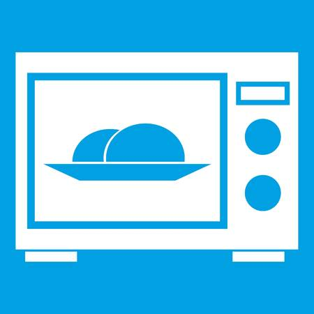 Microwave icon white isolated on blue background vector illustration