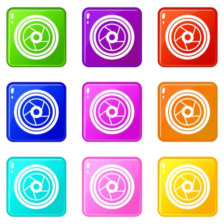 shutter aperture: Camera aperture icons of 9 color set isolated vector illustration