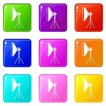 Studio lighting equipment icons of 9 color set isolated vector illustration
