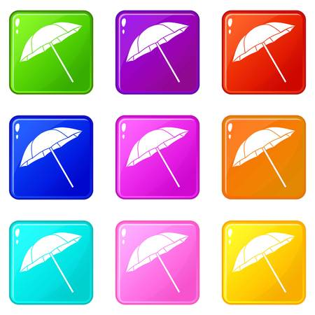 Umbrella icons of 9 color set isolated vector illustration