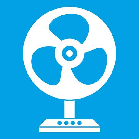 Fan icon white isolated on blue background vector illustration