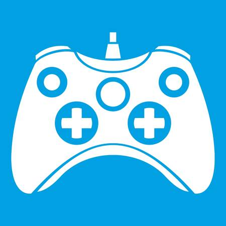 Video game controller icon white isolated on blue background vector illustration