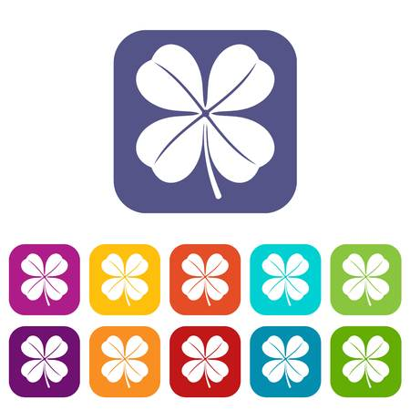 st: Clover leaf icons set vector illustration in flat style in colors red, blue, green, and other
