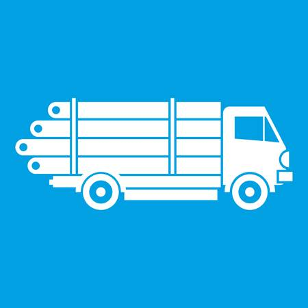 Log truck with the pile of logs icon white isolated on blue background vector illustration Illustration