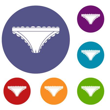 Panties with frill icons set in flat circle red, blue and green color for web Illustration