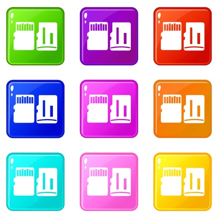 electronic music: Both sides of SD memory card icons of 9 color set isolated vector illustration