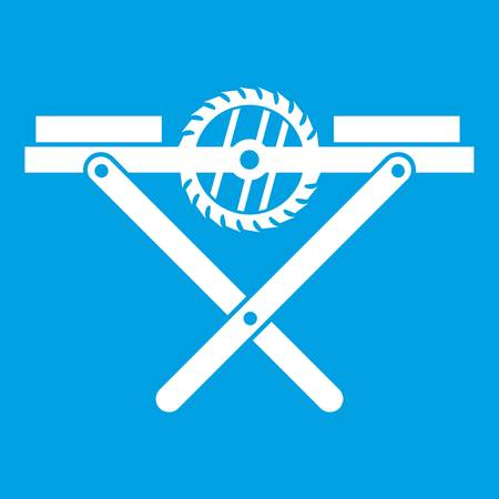 Power saw bench icon white isolated on blue background vector illustration Illustration