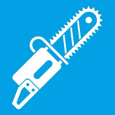 Chainsaw icon white isolated on blue background vector illustration Illustration