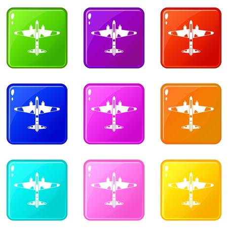 Military fighter aircraft icons of 9 color set isolated vector illustration Ilustração