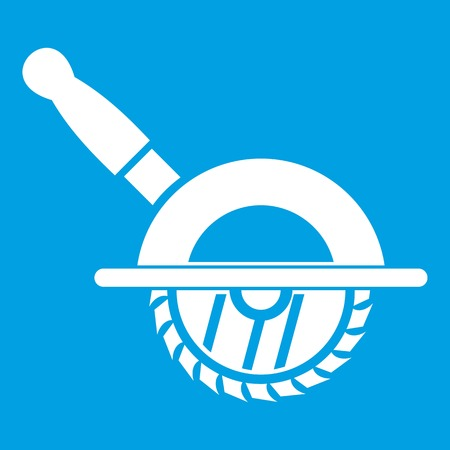 Circular saw icon white isolated on blue background vector illustration
