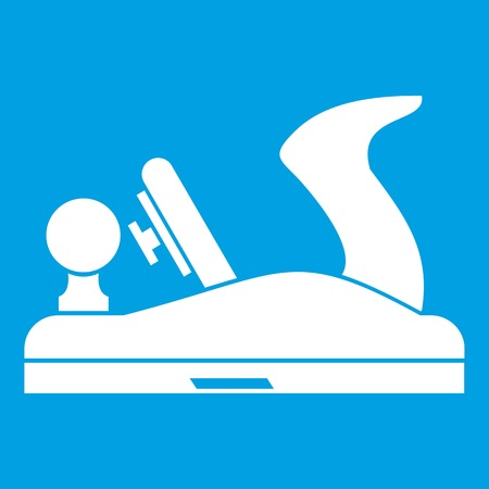 Jack plane icon white isolated on blue background vector illustration Illustration