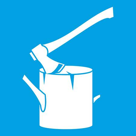 Ax stuck in a tree stump icon white isolated on blue background vector illustration Illustration