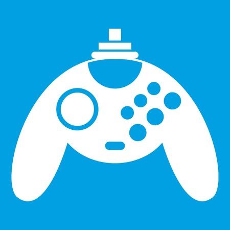 Gamepad icon white isolated on blue background vector illustration Illustration