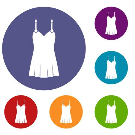 Nightdress icons set in flat circle red, blue and green color for web