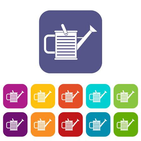 Watering can icons set vector illustration in flat style in colors red, blue, green, and other