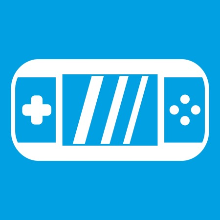 psp: Portable video game console icon white isolated on blue background vector illustration