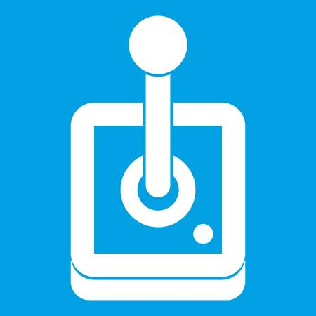 Joystick for computer games icon white isolated on blue background vector illustration