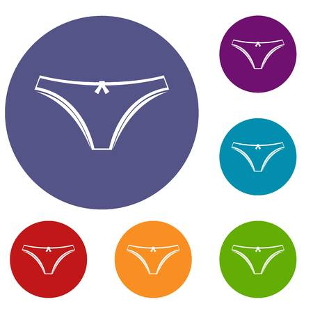 Panties icons set in flat circle red, blue and green color for web