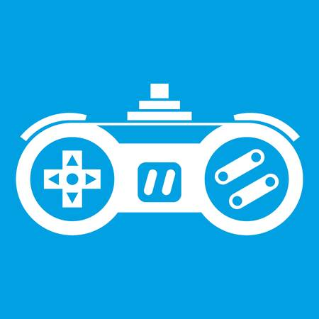 wireless icon: Gamepad icon white isolated on blue background vector illustration Illustration