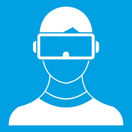 Virtual 3d reality goggles icon white isolated on blue background vector illustration