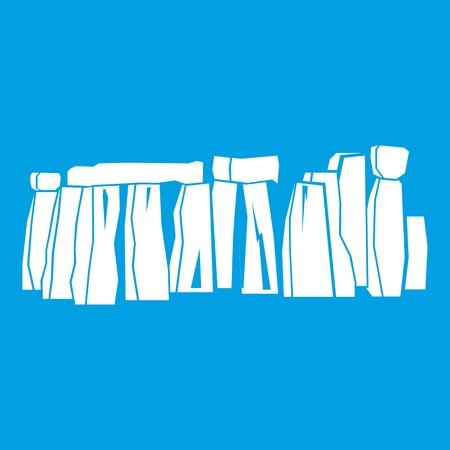 Stonehenge icon white isolated on blue background vector illustration Illustration