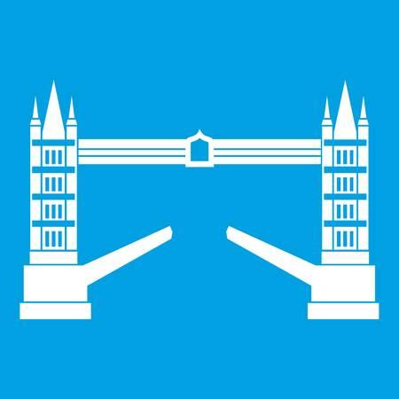 Tower bridge icon white isolated on blue background vector illustration
