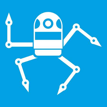 Spider robot icon white isolated on blue background vector illustration