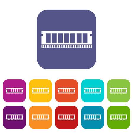 DVD RAM module for the personal computer icons set vector illustration in flat style in colors red, blue, green, and other