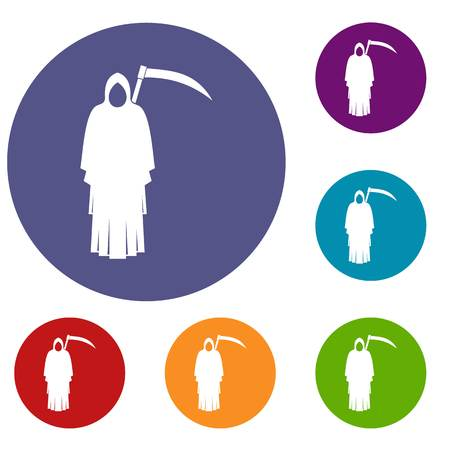 Death with scythe icons set in flat circle red, blue and green color for web Illustration