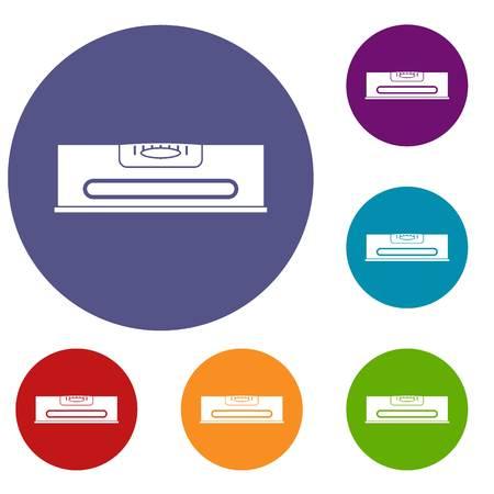 Gebouw niveau pictogrammen instellen in platte cirkel rode, blauwe en groene kleur voor het web