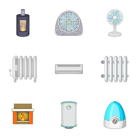 Devices for heating and cooling houses icons set
