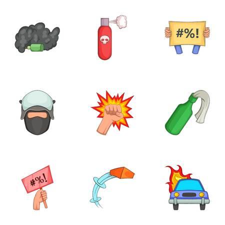 Vandalism icons set, cartoon style Illustration