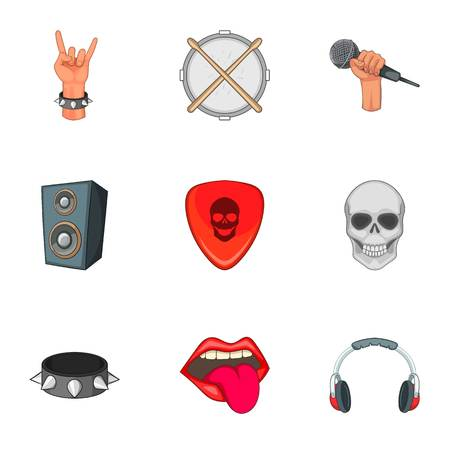 Music festival icons set, cartoon style Illustration